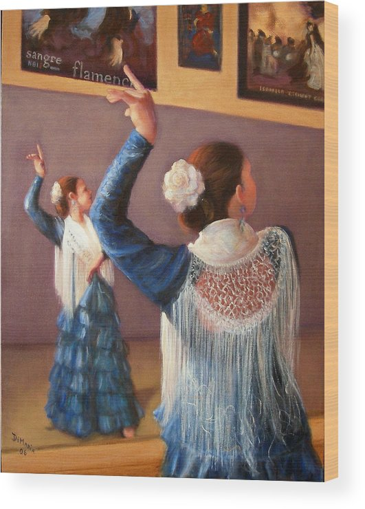 Realism Wood Print featuring the painting Flamenco 7 by Donelli DiMaria