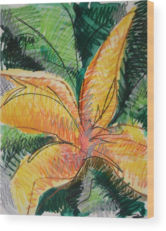Lily Wood Print featuring the painting Flora Exotica 2 by Dodd Holsapple