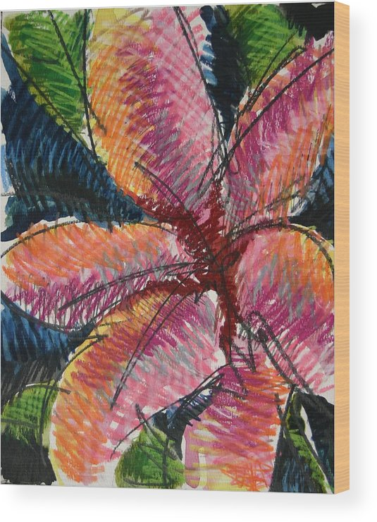 Lily Wood Print featuring the painting Flora Exotica 3 by Dodd Holsapple