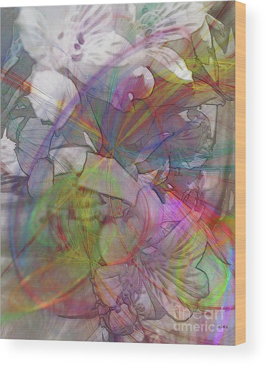 Floral Fantasy Wood Print featuring the digital art Floral Fantasy by John Beck