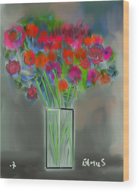 Art Wood Print featuring the painting Flores 1 by Carlos Camus