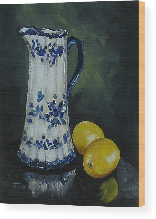 Flow Blue China Wood Print featuring the painting Flow Blue And Lemons by Torrie Smiley