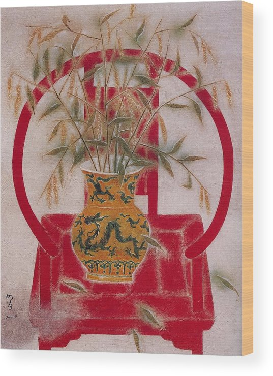 Chinese Antique Furniture Wood Print featuring the painting Flower In Vase-beauty by Minxiao Liu