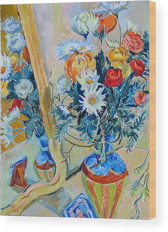 Flowers Wood Print featuring the painting Flowers And Memories by Vitali Komarov