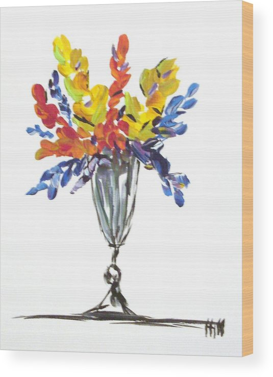 Flowers Wood Print featuring the painting Flowers Clear by Kimberly Hill