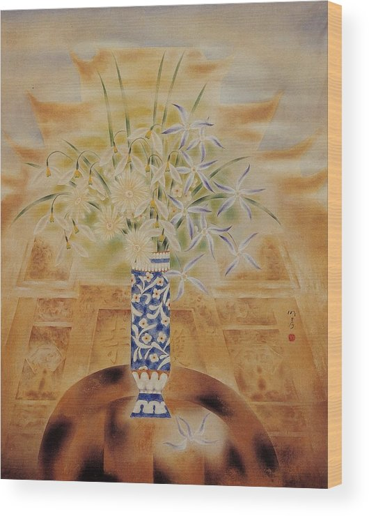 Flowers Painting Wood Print featuring the painting Flowers In Vase-leisure by Minxiao Liu