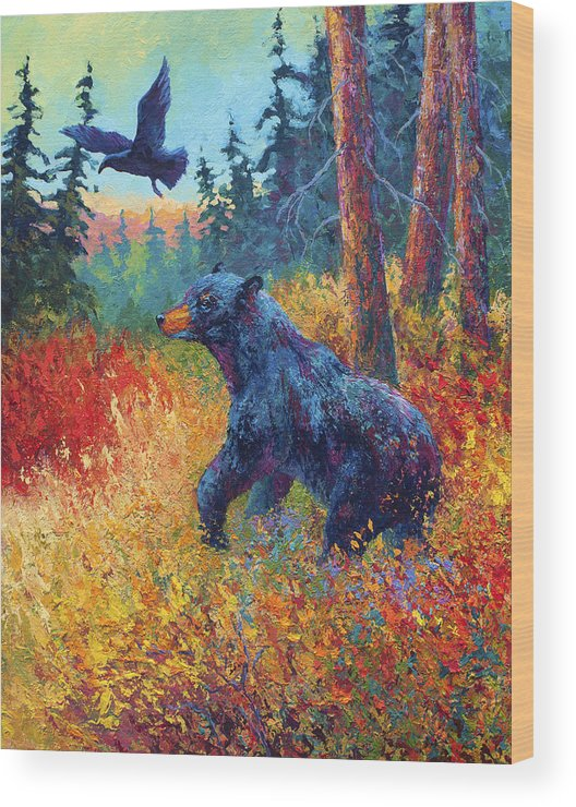 Black Wood Print featuring the painting Forest Friends by Marion Rose