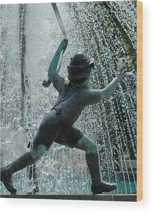Usa Wood Print featuring the photograph Frankenmuth Fountain Boy by LeeAnn McLaneGoetz McLaneGoetzStudioLLCcom