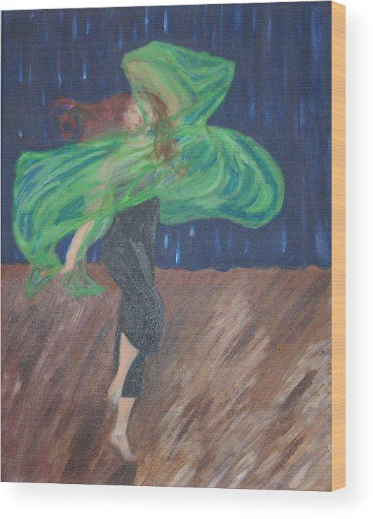 Dancer Wood Print featuring the painting Free Spirit IIi by Cassandra Allen