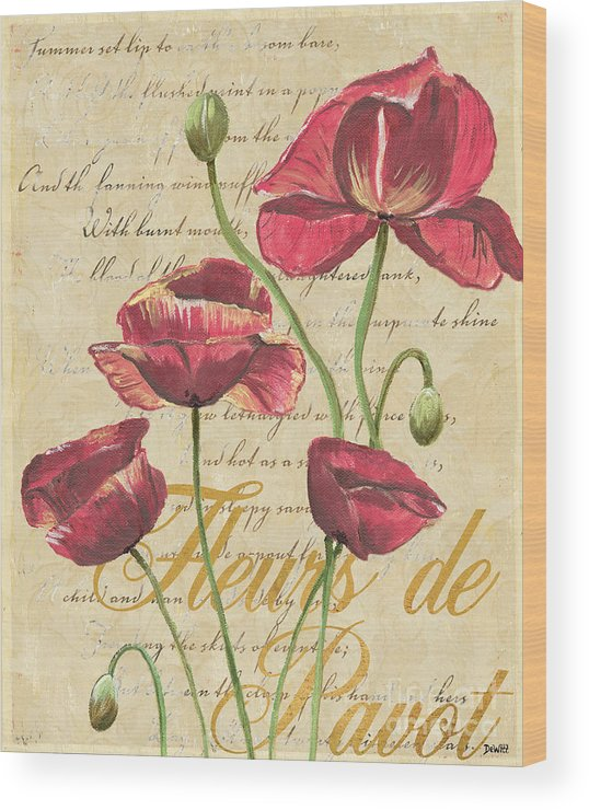 French Wood Print featuring the painting French Pink Poppies by Debbie DeWitt