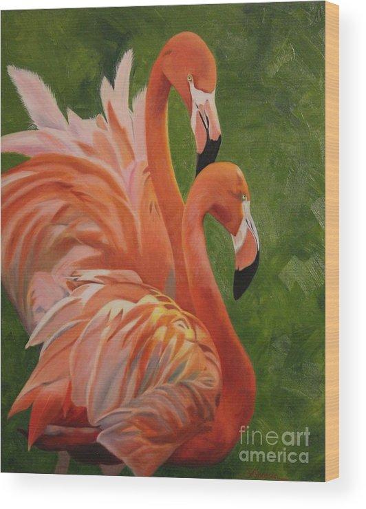 Flamingos Birds Tropical Airstream Mascots Wood Print featuring the painting Fun Flamingos by Susan Goodson