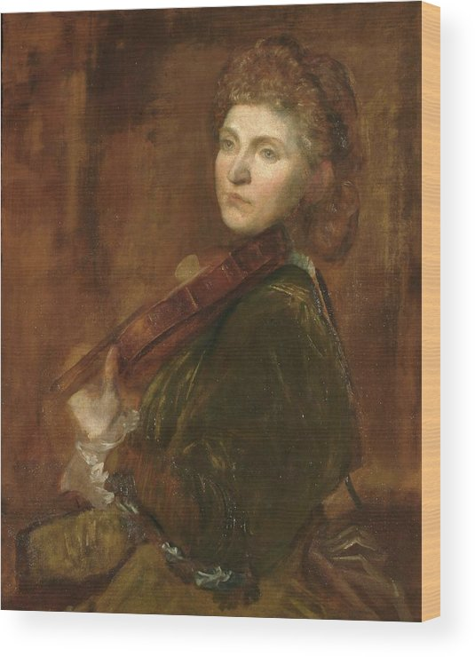 Lady Hallé (woman Playing Violin) Wood Print featuring the painting G F Watts by MotionAge Designs