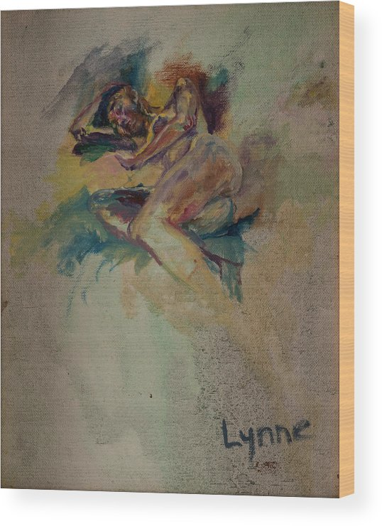 Nude Wood Print featuring the painting Gabrielle by Lynne Guess