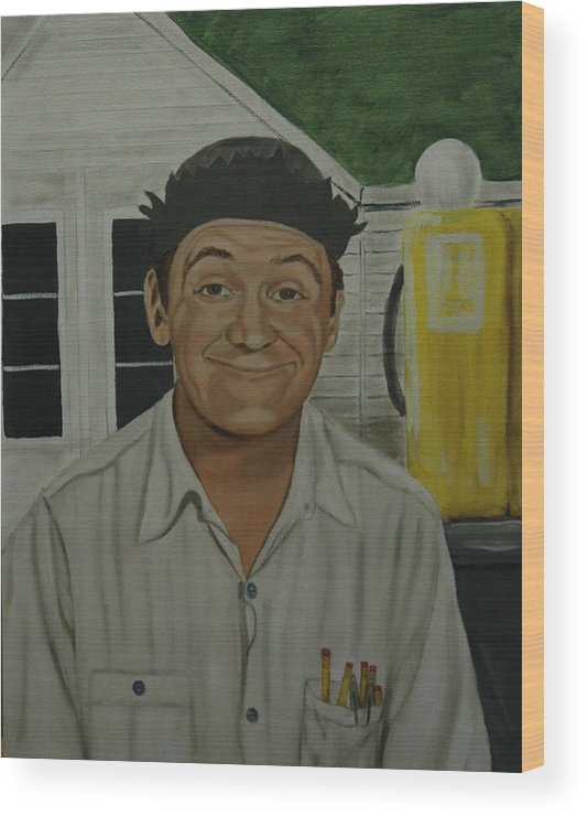Goober Wood Print featuring the painting George Lindsey As Goober by Tresa Crain