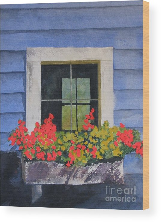 Flowers Wood Print featuring the painting Geranium View by Zoe Powell