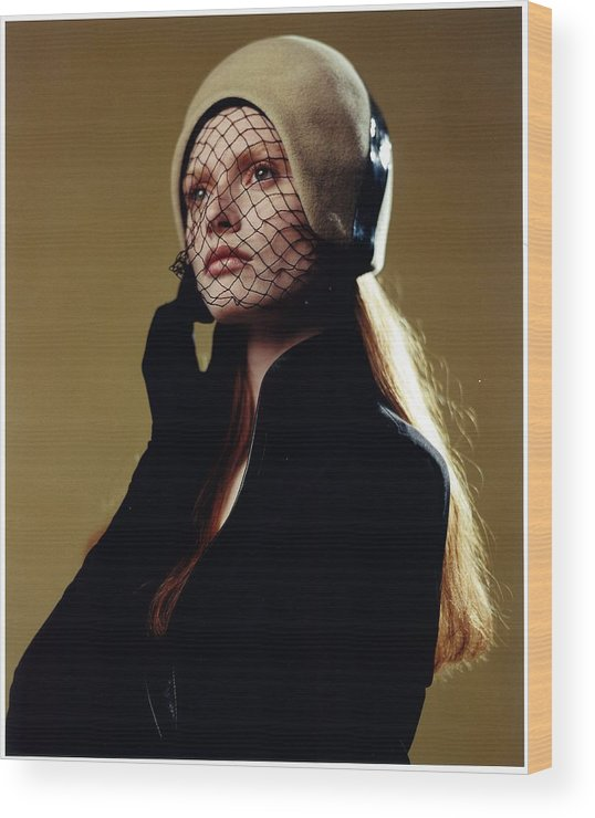 Female Wood Print featuring the photograph Girl In Net Hat by Rusty Walton