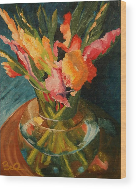 Semi-impressionist Wood Print featuring the painting Glads In Glass by Barbara Auito