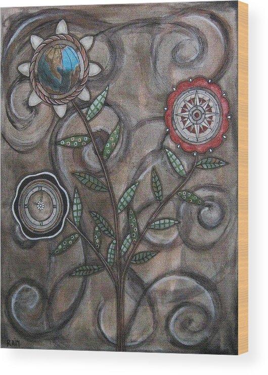 Folk Art Paintings Wood Print featuring the painting Global Garden by Rain Ririn