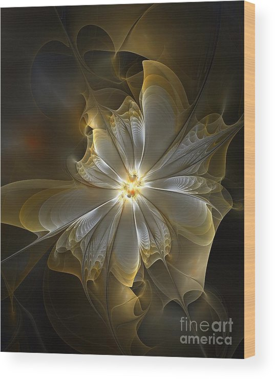 Digital Art Wood Print featuring the digital art Glowing In Silver And Gold by Amanda Moore