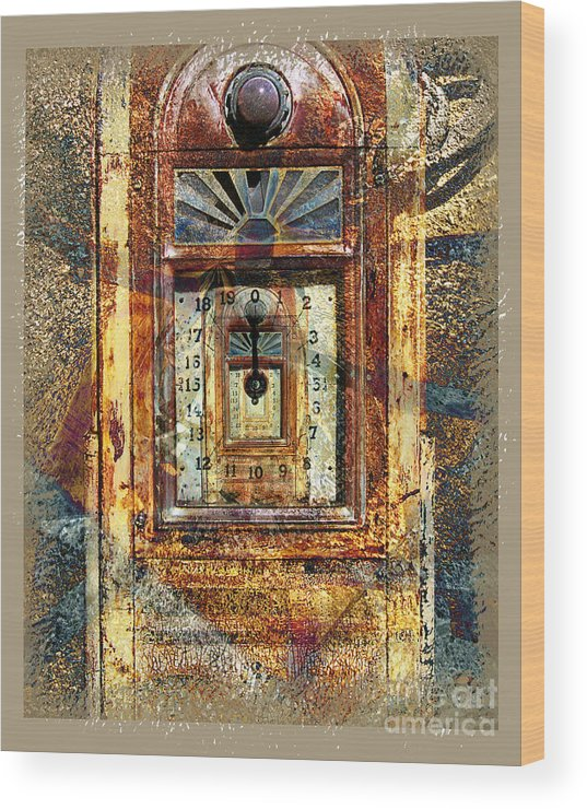 Gas Pump Wood Print featuring the digital art Gold Mine Gas Pump by Chuck Brittenham