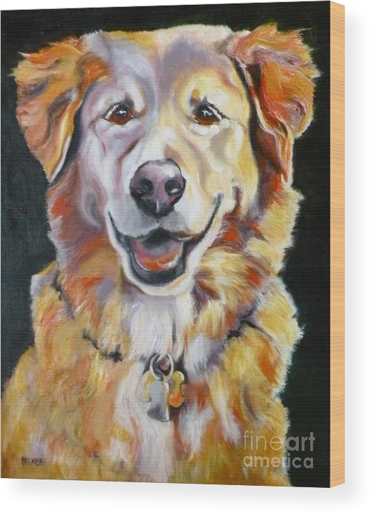 Dogs Wood Print featuring the painting Golden Retriever Most Huggable by Susan A Becker
