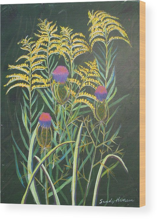 Goldenrod Wood Print featuring the painting Goldenrod In Summer by Art Nomad Sandra Hansen