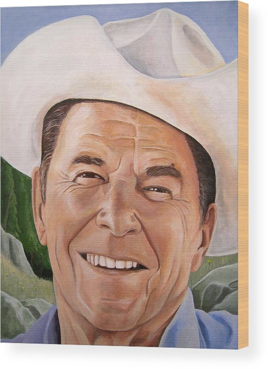Cowboy Wood Print featuring the painting Good Guys Wear White Hats by Kenneth Kelsoe