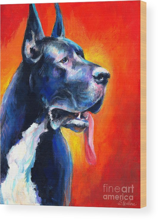 Black Great Dane Wood Print featuring the painting Great Dane Dog Portrait by Svetlana Novikova