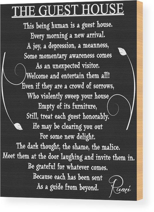 Guest House Poem Rumi Wood Print By Dan Sproul