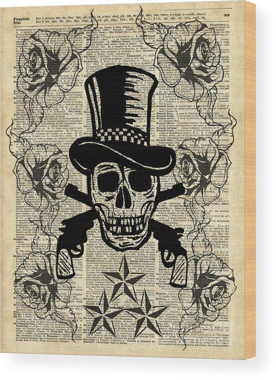 Gunslinger Happy Skull Guns N Roses Rockstar Vintage Decoration Card Craft Supplies Dictionary Art Wood Print
