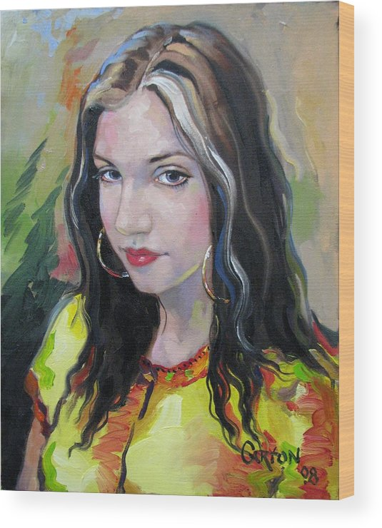 Gypsy Wood Print featuring the painting Gypsy Girl by Jerrold Carton