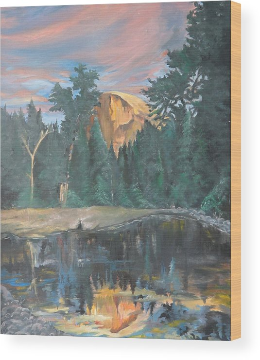 Sunset Wood Print featuring the painting Half Dome Sunset by Travis Day