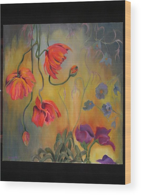 Flowers Wood Print featuring the painting Hanging Popies by Martha Zausmer paul