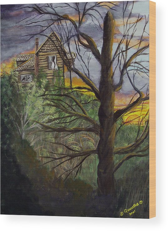 House Wood Print featuring the painting Haunted House by Quwatha Valentine