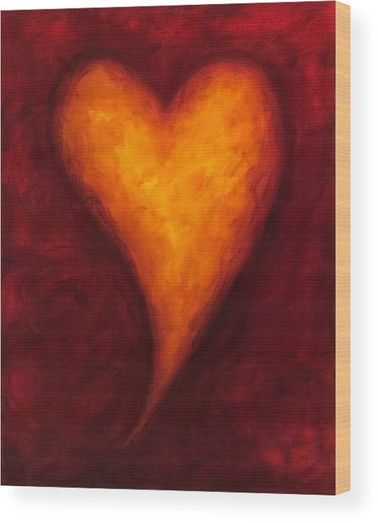 Heart Wood Print featuring the painting Heart Of Gold 2 by Shannon Grissom