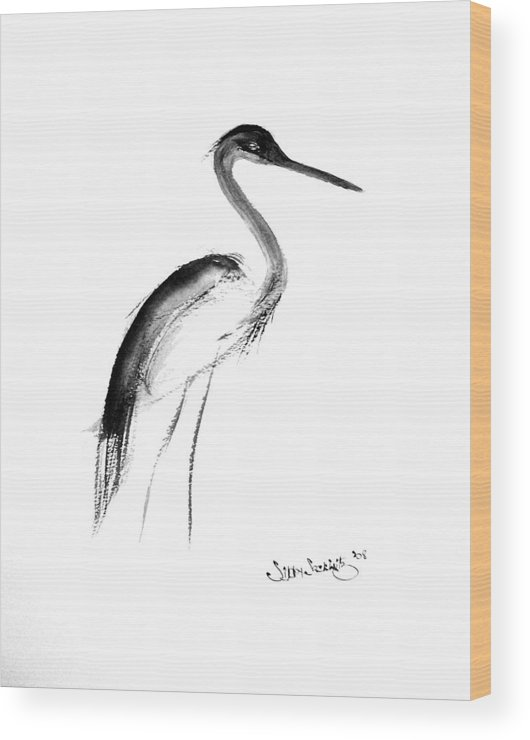 Sumi-e Wood Print featuring the painting Heron by Sibby S