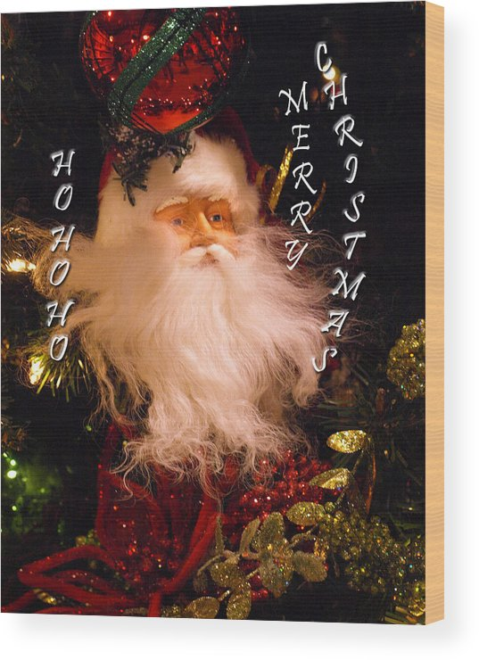 Card Wood Print featuring the painting Ho Ho Ho by Kim