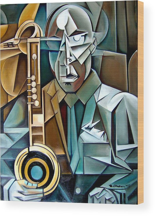 Jazz Saxophone Tim Warfield Wood Print featuring the painting Horn And Man by Martel Chapman