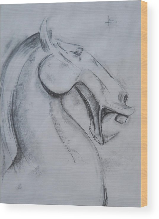 Horse Wood Print featuring the drawing Horse Face by Victor Amor