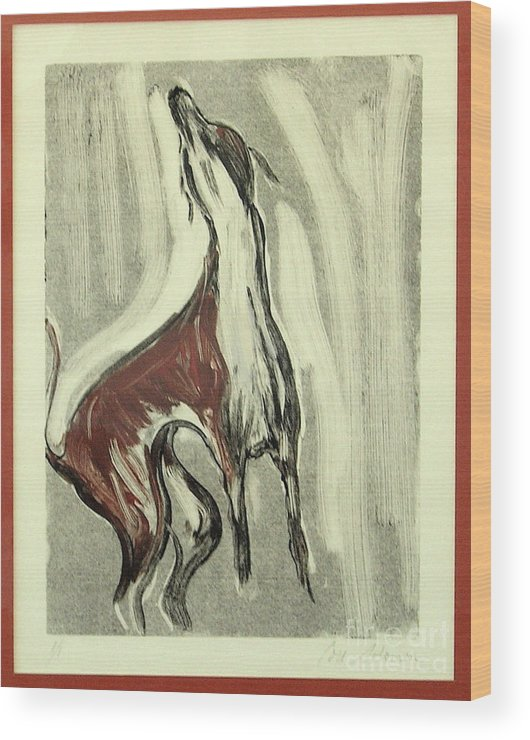 Monotype Wood Print featuring the mixed media Howling For Joy by Cori Solomon