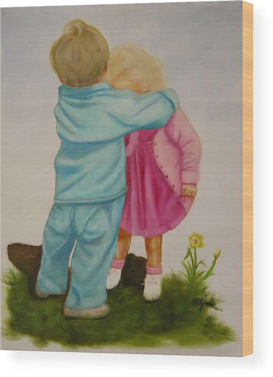 Children Wood Print featuring the painting Hugs Are Magic by Joni McPherson