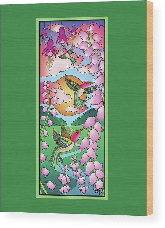 Hummingbirds Wood Print featuring the digital art Hummingbird Sunrise by Eleanor Hofer