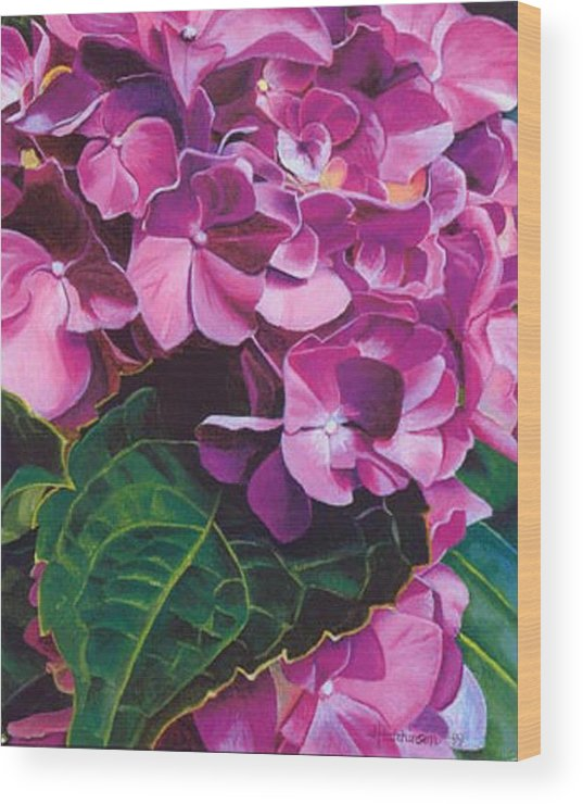 Pink Hydrangea Painting Wood Print featuring the painting Hyrangea by Joyce Hutchinson