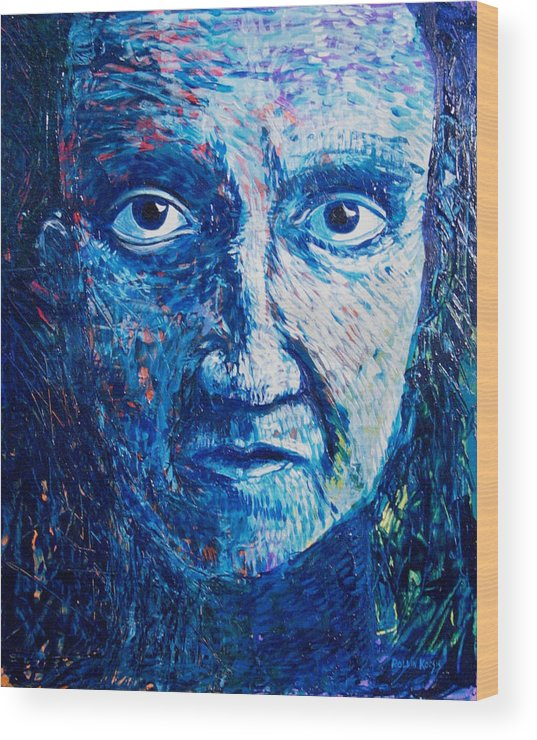 Blue Wood Print featuring the painting I See You In So Many Ways by Rollin Kocsis