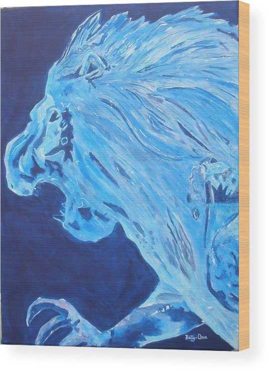 Lion Wood Print featuring the painting Ice Sculpture by Betty-Anne McDonald