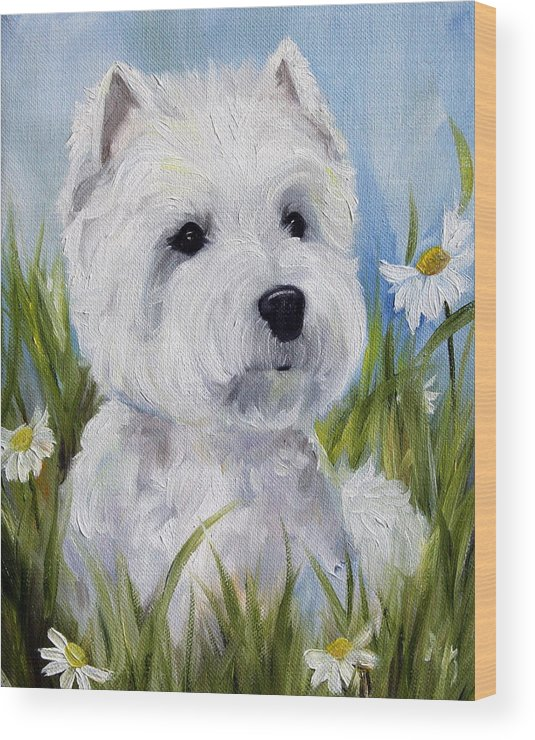 Art Wood Print featuring the painting In The Daisies by Mary Sparrow