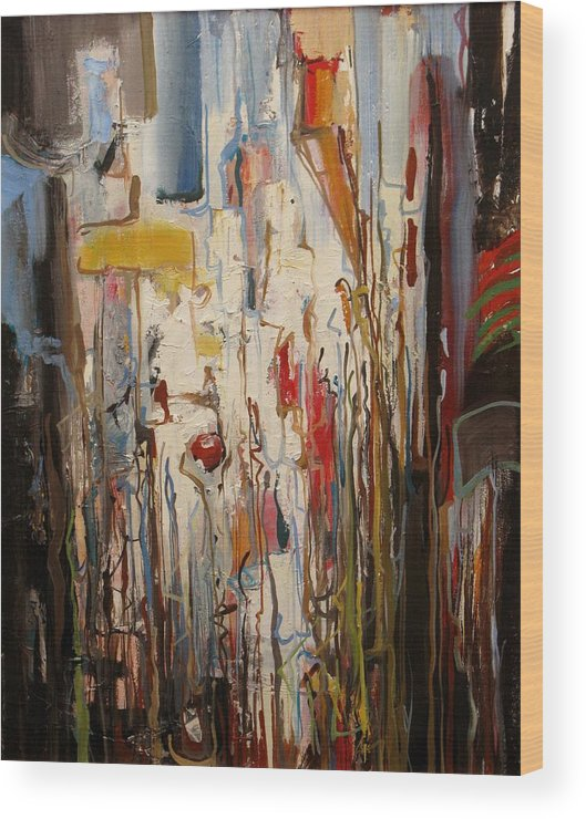Abstract Wood Print featuring the painting In The Morning by David McKee