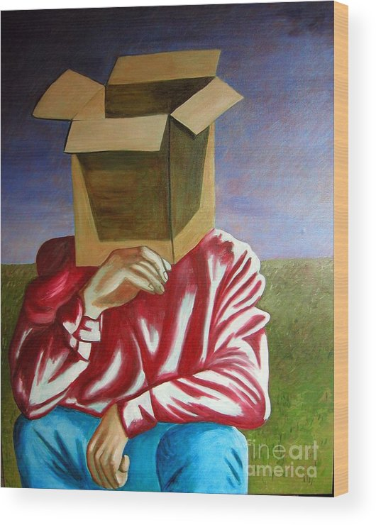 Identity (symbolic Art) Wood Print featuring the painting Is The Self Just An Empty Box by Tanni Koens