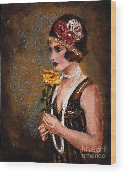 Woman Wood Print featuring the painting Isabel by Robin DeLisle