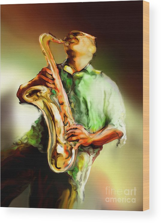 Jazz Art Wood Print featuring the painting Jam by Mike Massengale